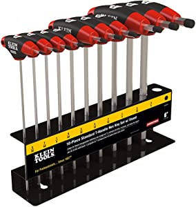 Klein Tools JTH610EB Hex Key Kit with Stand, Ball End T-Handle, 6-Inch SAE, 10-Piece