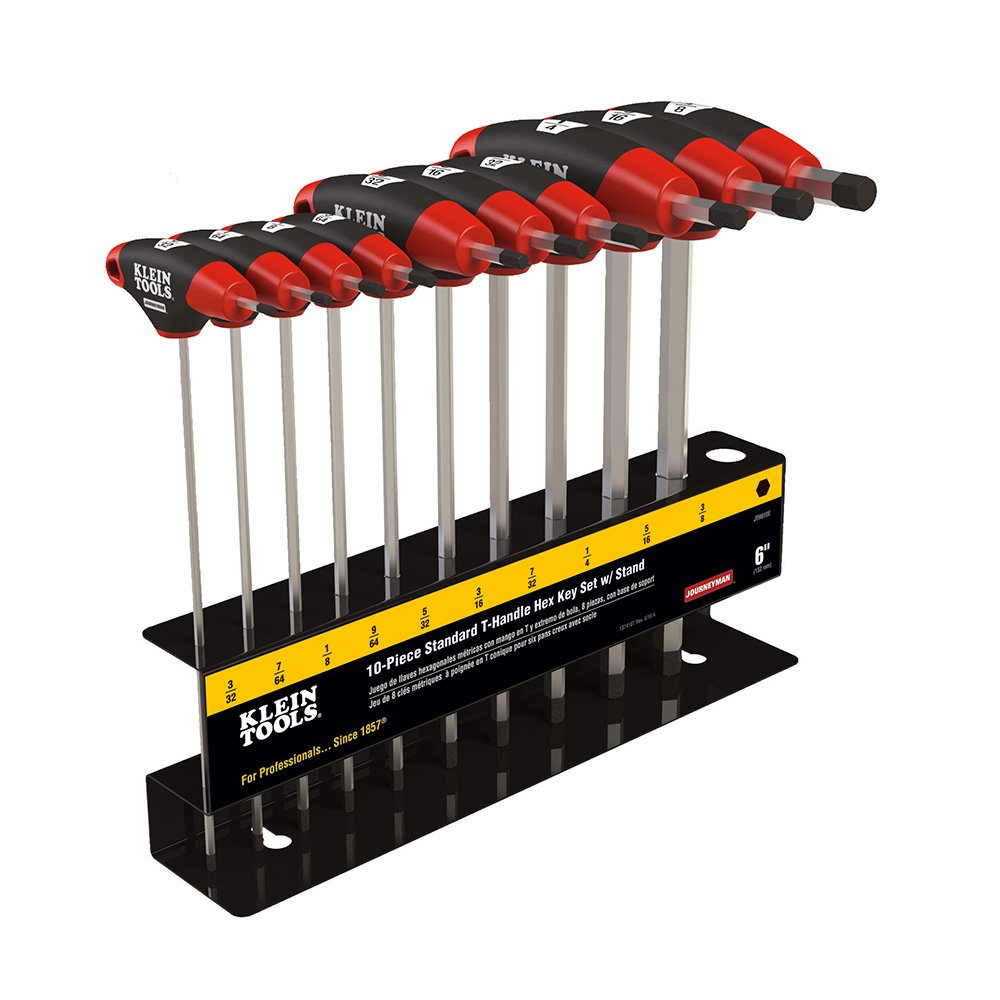 Klein Tools JTH610EB Hex Key Kit with Stand, Ball End T-Handle, 6-Inch SAE, 10-Piece by Klein Tools