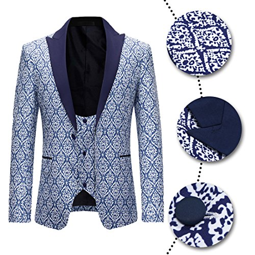 Wedding Pezzi Dinner Risvolto Pantaloni Prom Scialle Tuxedo Business Gilet Blazer Fit Mens Suits Rosso Blu Jacket 3 Slim pgxx1q8