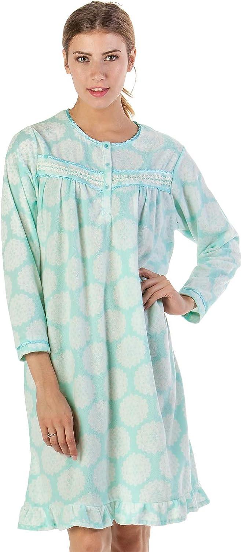 Casual Nights Womens Printed Micro Fleece Zip Up Long Sleeve Sleepwear Duster Robe