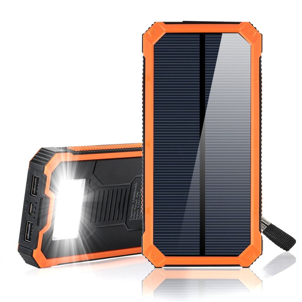 15000mAh Solar Power Bank, Solar Charger Portable Dual USB Solar Phone Charger, Fast Charging External Battery Pack with 6 LED Flashlight for Cellphones Tablet Camera and More (Orange) by F.DORLA