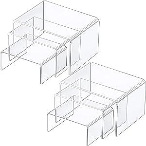 Chuangdi 2 Sets Clear Acrylic Display Risers, Jewelry Display Riser Shelf Showcase Fixtures (Medium Set, Clear)