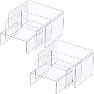 Chuangdi 2 Sets Clear Acrylic Display Risers, Jewelry Display Riser Shelf Showcase Fixtures (3 Sizes A)