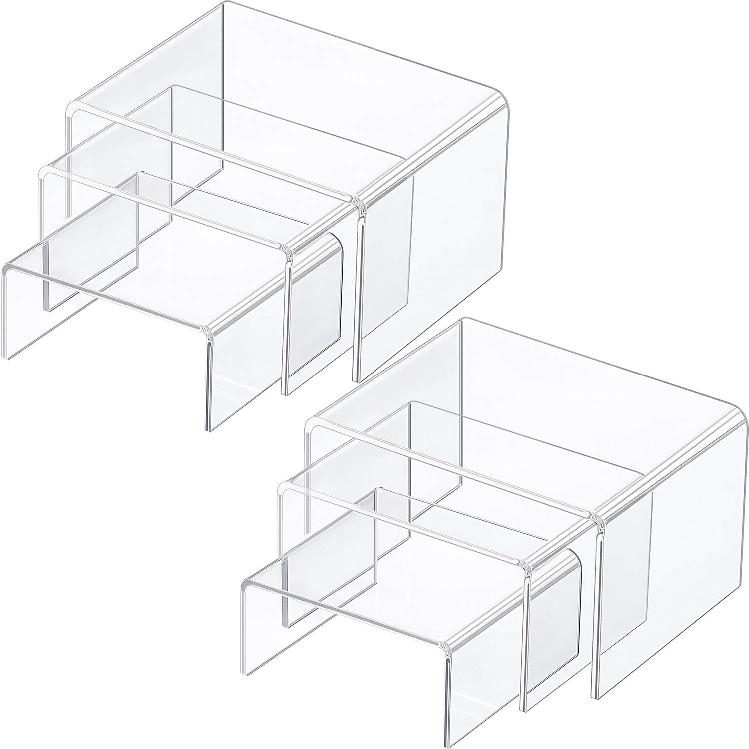 Chuangdi 2 Sets Clear Acrylic Display Risers, Jewelry Display Riser Shelf Showcase Fixtures