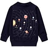 Popshion Boys Dinosaur Sweatshirts Toddler Boy Long Sleeve T-Shirts Pullover Cartoon Tee Sport Tops for Kids 1-7T