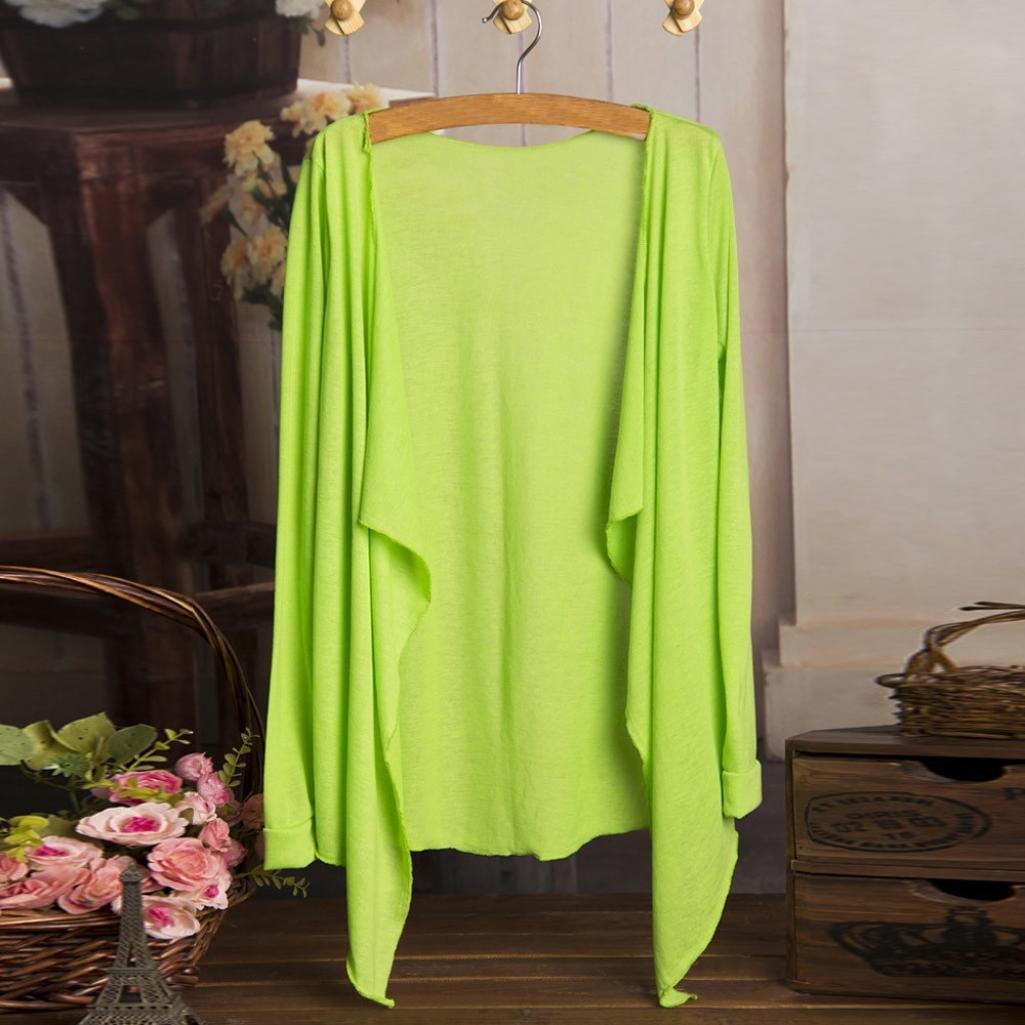 Coromose Women Beachwear Solid Summer Beach Kimono Cover-up Cardigan Beige) Coromose 1569