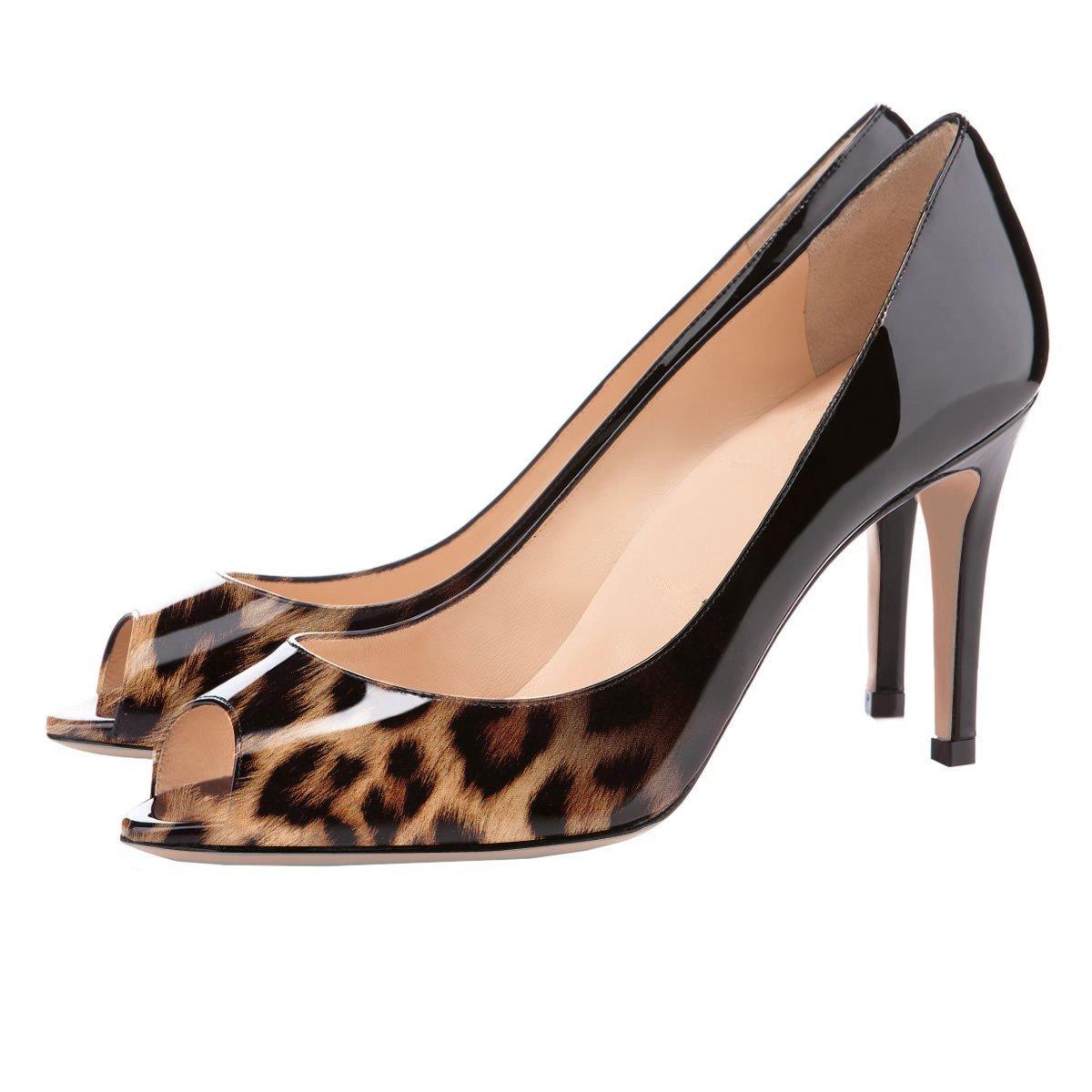 Eldof Women Peep Formal Toe Pumps Mid-Heel Pumps Formal Peep Wedding Bridal Classic Heel Open Toe Stiletto B07F1L7FW2 11.5 B(M) US|Black-leopard 729934