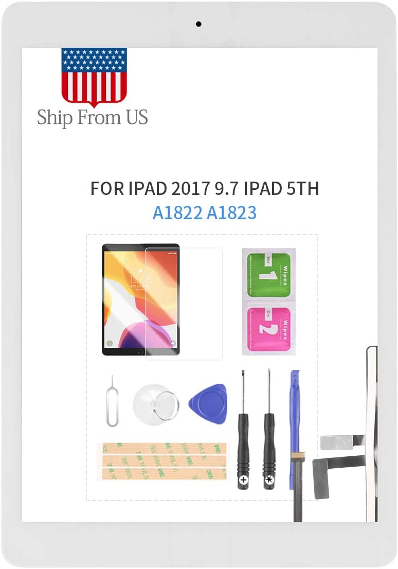 Digitizer Screen Replacement for iPad 2017 iPad 5 Gen 9.7 Inch A1822 A1823 Touch Screen Glass Panel with Home Button Repair Parts for iPad5 Touchscreen Free Tools Kits (White with Home Button)
