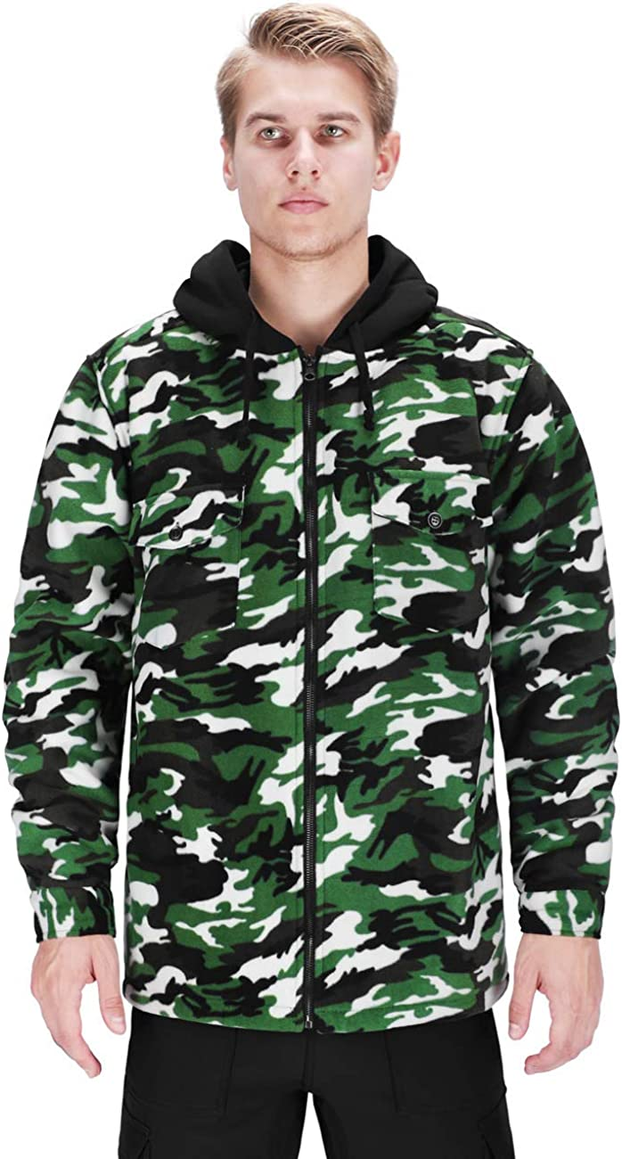 DISHANG Men's Hooded Fleece Jacket Warm Coat Full-Zip Military Army Camo Outerwear Tactical Outdoor Sweatshirts: Clothing