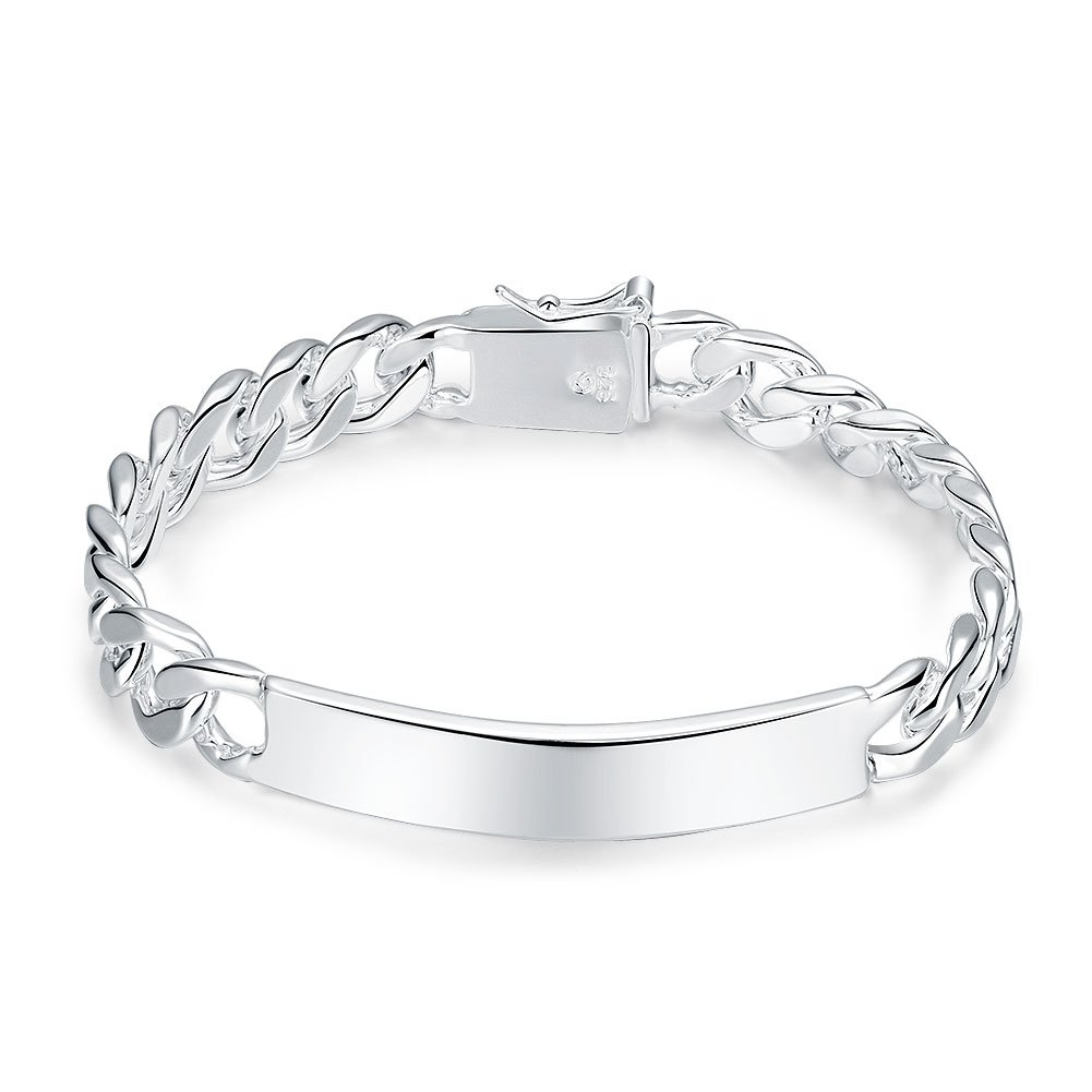 Xiaodou Cable Chain Bracelet Men 925 Sterling Silver Bracelet 10MM Fashion Link Bracelet