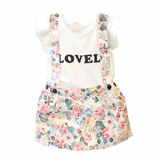 fcdbe60d3ff5 Amazon.com  Hatoys 2PCS Kids Baby Girl Tops T-Shirt+Overalls Skirt ...