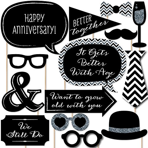 Big Dot of Happiness Wedding Anniversary - Photo Booth Props Kit - 20 Count ()