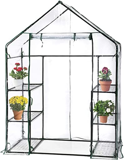 BMS Portable Mini Indoor Outdoor Greenhouse, Plant Shelves Tomato Herb Canopy Winter Walk-in Green House for Patio