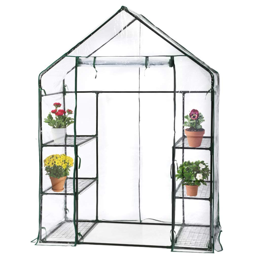 BMS PortableMini Indoor/Outdoor Greenhouse, Plant Shelves Tomato Herb Canopy Winter Walk-in Green House for Patio