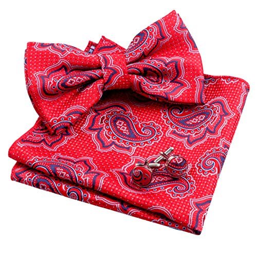 Alizeal Mens Dot Paisley Pre-tied Bow Tie, Hanky and Cufflinks Set, Wine Red