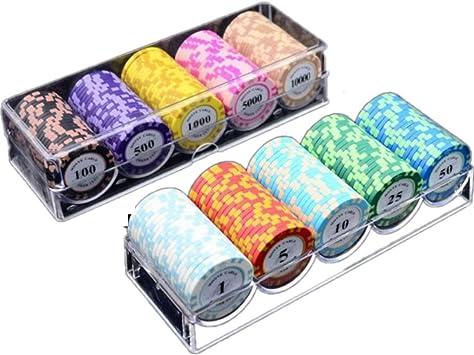 NuoEn Juego de fichas de póker Texas Holdem 14g con Blackjack y fichas Casino de
