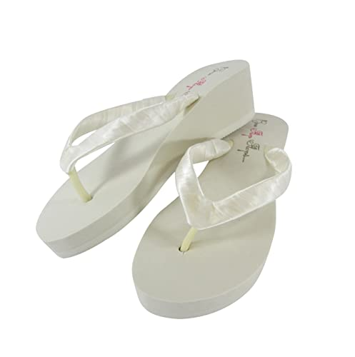 9470cc956b45fd Amazon.com  Cute 2 inch ivory wedge flip flops or choose size heel and  color  Handmade