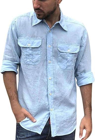 Camisas de Lino para Hombres - Camisas de Lino de Manga Larga Camisas con Bolsillos Delanteros con Botones Tops de Verano Sueltos Ocasionales: Amazon.es: Ropa y accesorios