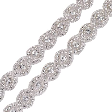 1 yard crystal Rhinestone Trim Rhinestone Applique Bridal Applique Silver