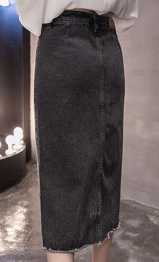 XTX Women Stretchy All-Match Short Front Split Denim Mini Skirts