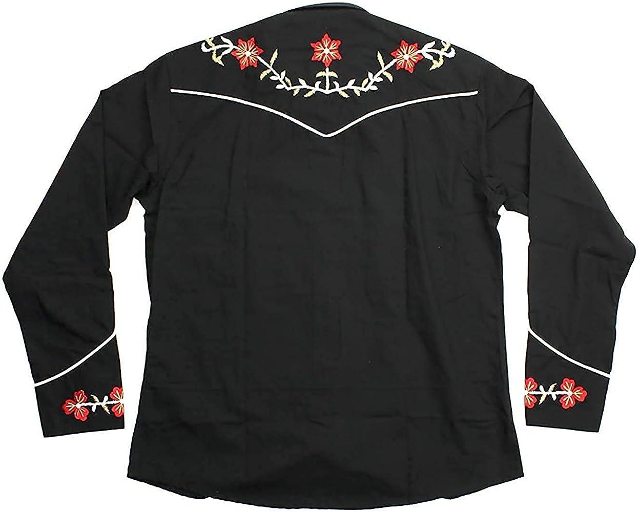 Relco Negro Vaquero Estilo del Oeste Tres Colores Bordado Polialgodón Camisa - Negro, S: Amazon.es: Ropa y accesorios