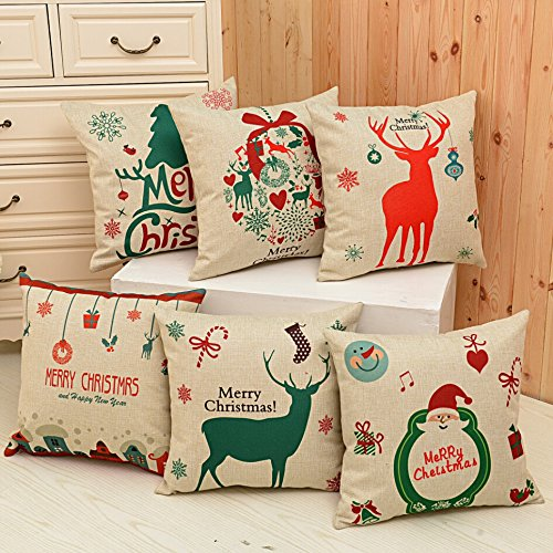 Christmas Decorations-BLUETTEK Santa Series Cotton Linen Throw Pillow