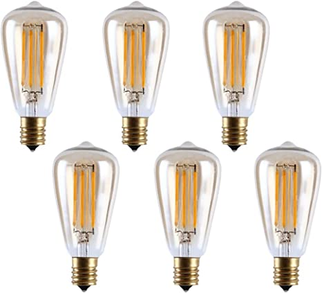 Amazon Com Md Lighting 4w Led Replacement Light Bulbs E17 Intermediate Base Warm White 2700k Equivalent To 40w Incandescent Bulb Amber Glass St38 Bulb For Outdoor Indoor Edison String Light 120v 6 Pack Home