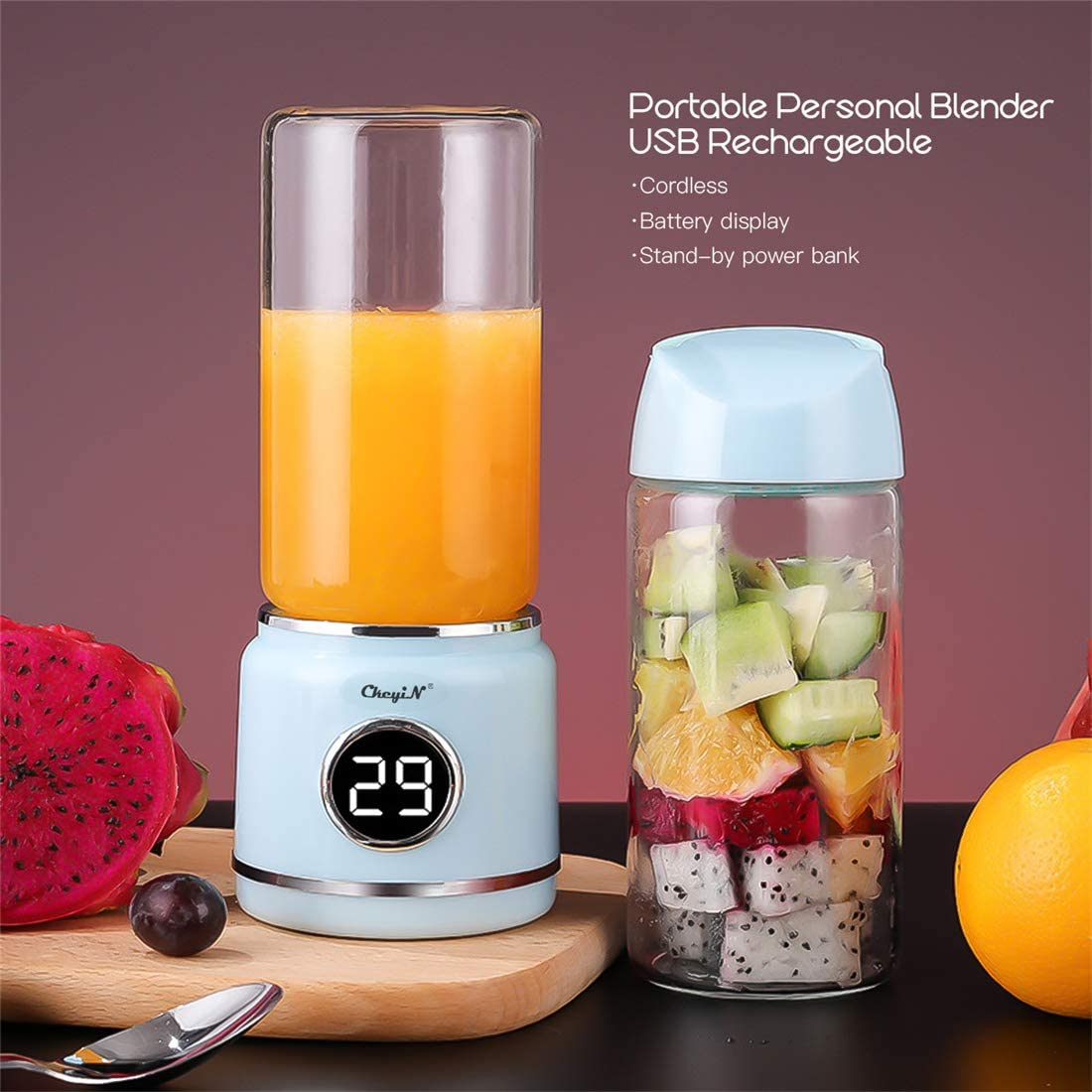 Mini Portable Blender, USB Juicer Mixer with 6 Stainless Steel Blades & Power Bank Function for Traveling Spots Home Office and Outdoor, Perfect for