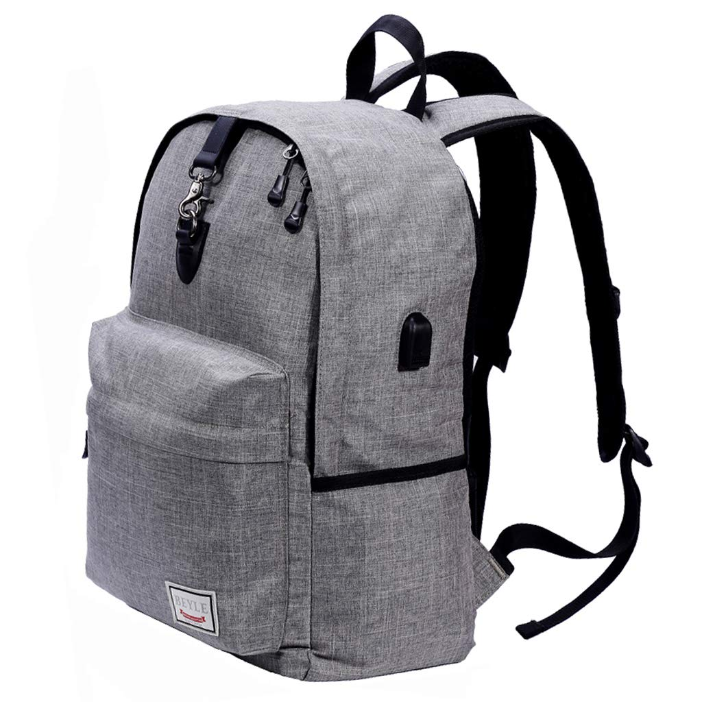 Laptop Backpack, Beyle Travel Computer Bag for Mens & Women, Large College School Bookbag with USB Charging Port Anti Theft Water Resistant Durable Business Backpack Fit 15.6 Inch Laptop&Notebook-Grey