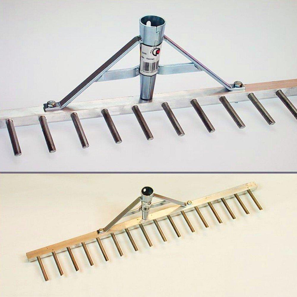 Polar 2320 Aluminium Alu Rechen Land- Rasenrechen Bauern-Harke 60 cm 16 Zinken 7cm