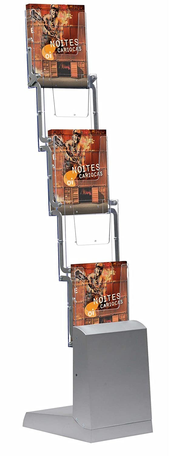 Brochure Stand portable 5 x DIN A4 shelves incl. textile transport bag, foldable display stand mobile presentation M&T