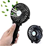EssVita Handheld Portable Mini Fan USB Foldable Multipurpose Desktop Fan Table Fans with Clip,2200mAh Rechargeable Battery,3 Speeds,for Home,Office and Travel (Black)