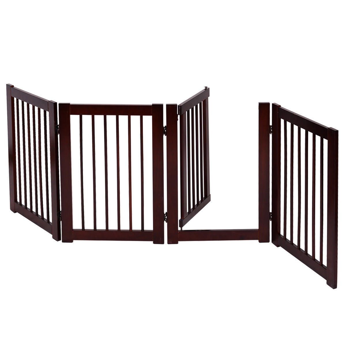 New MTN-G 30 Configurable Folding Free Standing 4 Panel Wood Pet Dog Safety Fence w Gate