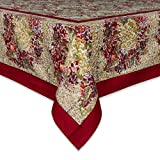 Couleur Nature Winter Garden Wreath Tablecloth, 71-inches by 128-inches, Red/Green