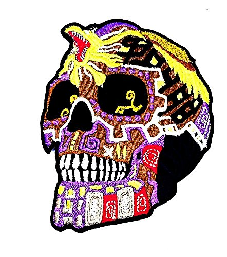 4 x 3 inches purple Mexican Sugar Skull with King Cobra patch Children Cute Patch for DIY Applique Iron on Patch T shirt Patch Sew Iron on Embroidered Badge Sign (Purple Cobra Costumes)