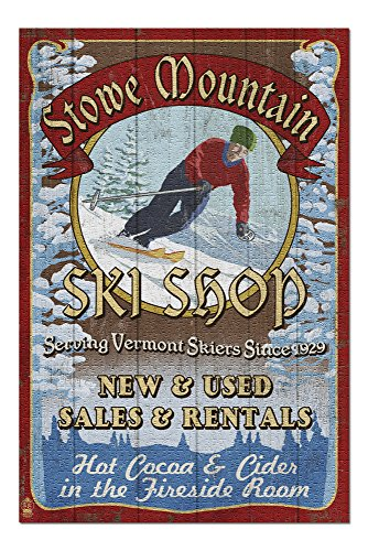 Ski Vermont Shop - Stowe Mountain, Vermont - Ski Shop Vintage Sign (20x30 Premium 1000 Piece Jigsaw Puzzle, Made in USA!)