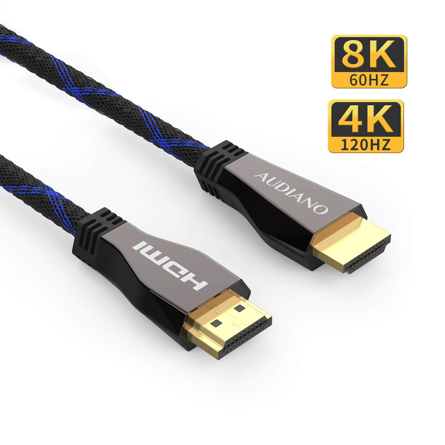 8K HDMI Cable, AUDIANO 8K HDMI 2.1 Cable 100% Real 8K, High Speed 48Gbps 8K@60Hz 7680P Dolby Vision, HDCP 2.2, 4:4:4 HDR, eARC Compatible with Apple TV, Samsung QLED TV (6.6ft)