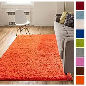 Solid Retro Modern Orange Shag 3x5 (3'3'' x 5'3'') Area Rug Plain Plush Easy Care Thick Soft Plush Living Room Kids Bedroom
