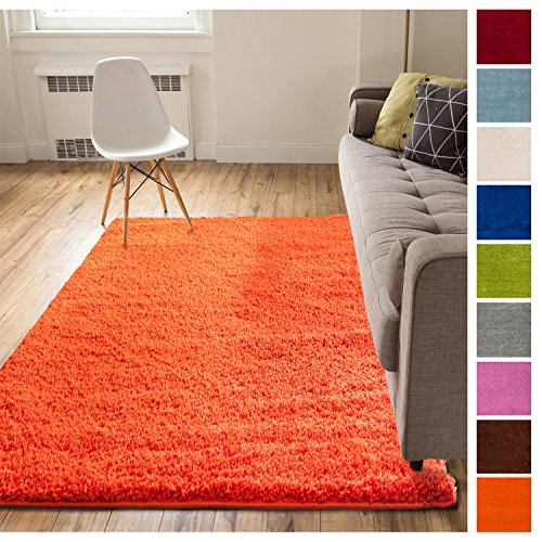Solid Retro Modern Orange Shag 5x7 ( 5' x 7'2'' ) Area Rug Plain Plush Easy Care Thick Soft Plush Living Room Kids - Retro Orange