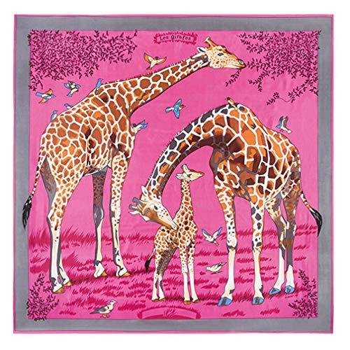 Clearance Sale! Silk Scarf for Womens Teen Girls, Iuhan Women's Fashionable Silk Scarf Summer Sunscreen Giraffe Printed Square Shawl Lighweight Wrap Hijab Scarves (Hot Pink)