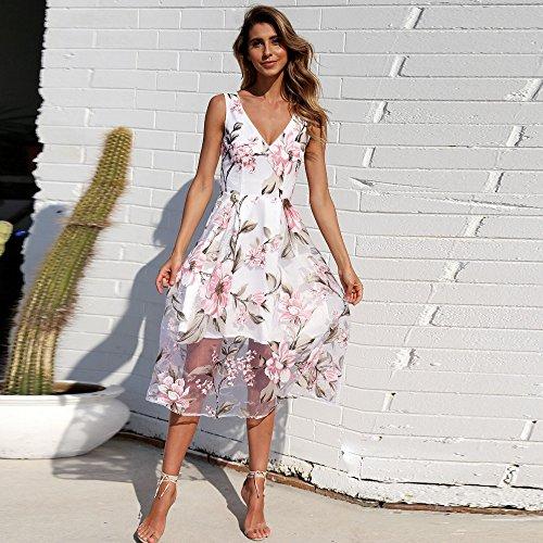 60d61ffddf Ulanda-EU Womens Dresses Ladies Floral Printed Mesh Patchwork Dress ...