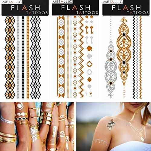"""Bijoux ASSORTED métallisé or, argent et noir conception Tatouages Flash, temporaire Package Bling- de 3 feuilles 3 """"x 6,5"""" (styles peuvent ne pas être la même que l'image)"""