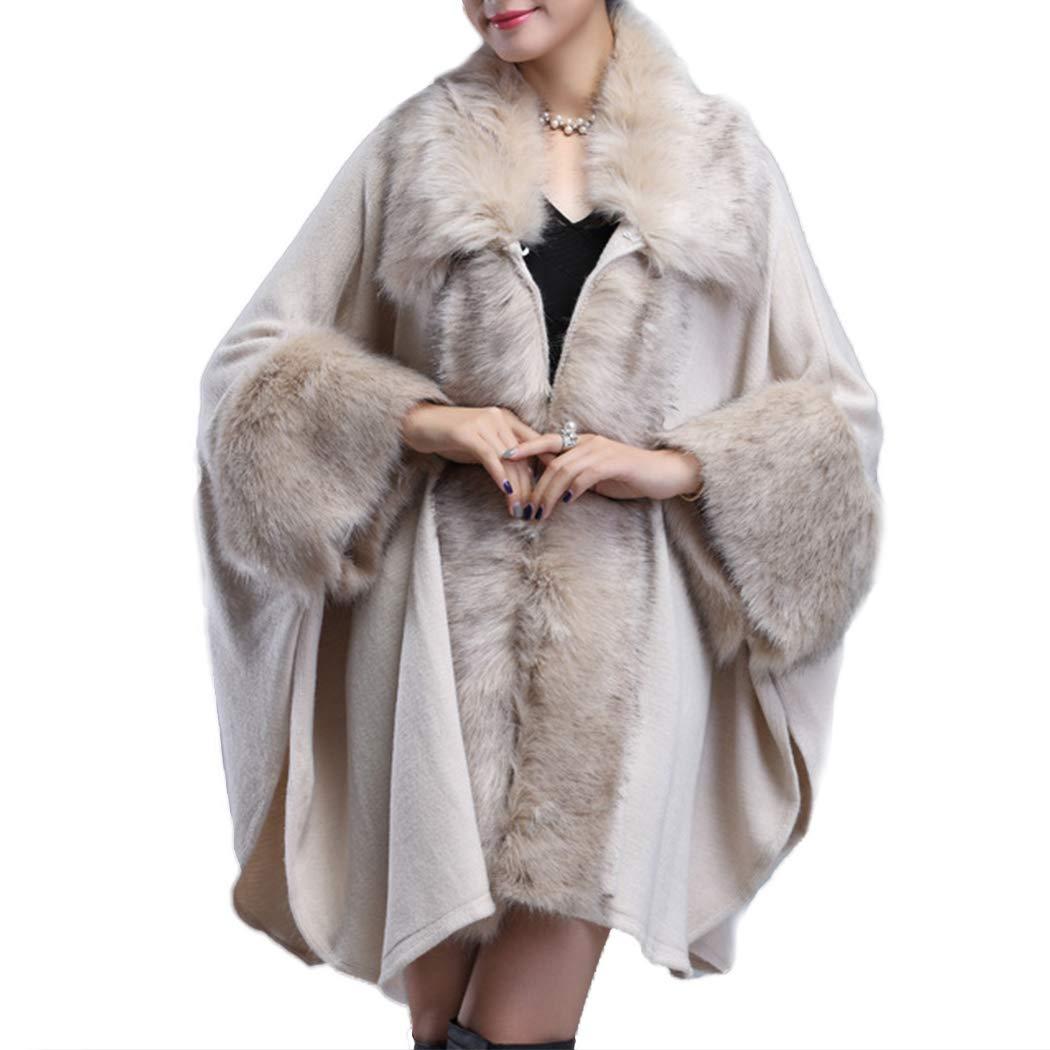 d15ddca6827 Raylans Women s Faux Fur Shawl Wraps Bridal Cloak Coat Sweater Cape