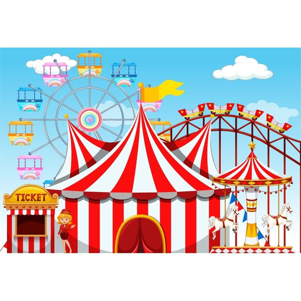 YongFoto 10x9ft Cartoon Children Amusement Park Backdrop Circus Tent Photography Background Ticket Ferris Wheel Carousel Roller Coaster Kids Boy Girl 1st Birthday Party Banner Portrait Studio Props