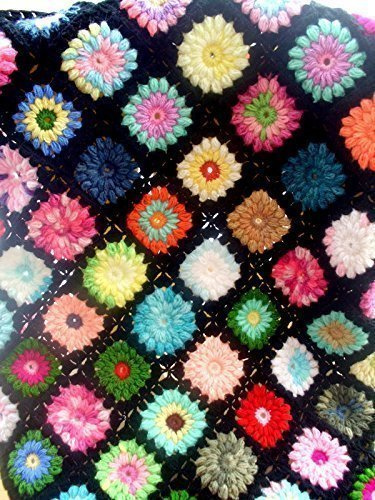 (hand made baby blanket, granny square afghan blanket,handmade blanket, crochet blanket, crochet quilt, multicolor blanket)