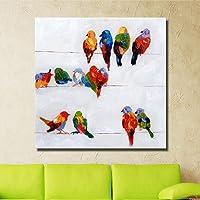 Pittura Ad Olio Dipinto A Mano Su Tela,Astratto Animale Dipinti,Uccelli Colorati Famiglia,Europea Moderna E Di Grandi Dimensioni,La Decorazione Parietale Per Ingresso Soggiorno Camera Da Letto Adulti