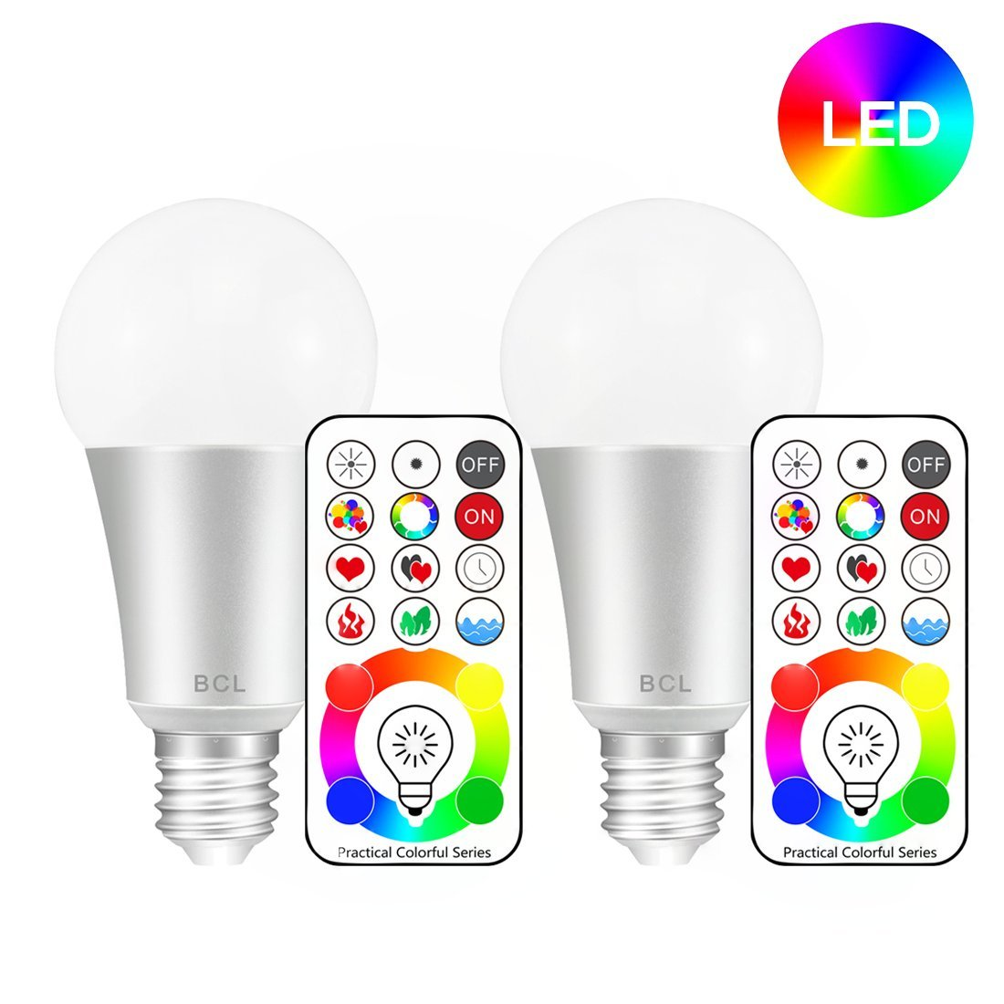 BCL Remote Control LED Color Changing Light Bulb, 60W Equivalent, A19, E26 Base, RBG + Daylight White, Dimmable/Timing/Memory/3 Way Functions Lamp (Pack of 2) Innovative Version