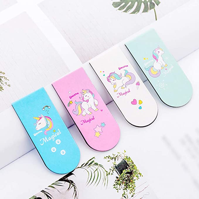 Amazon.com : NUOBESTY 4pcs Unicorn Magnetic Bookmarks Magnet ...