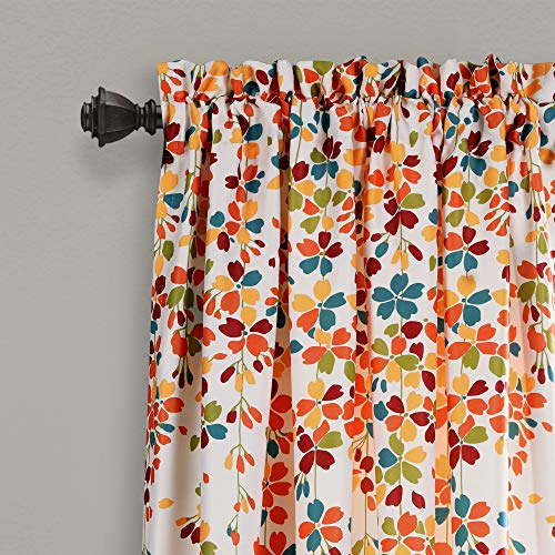 "Lush Decor Weeping Flowers Room Darkening Window Panel Curtain Set (Pair), 84"" x 52"", Turquoise and Tangerine 2"