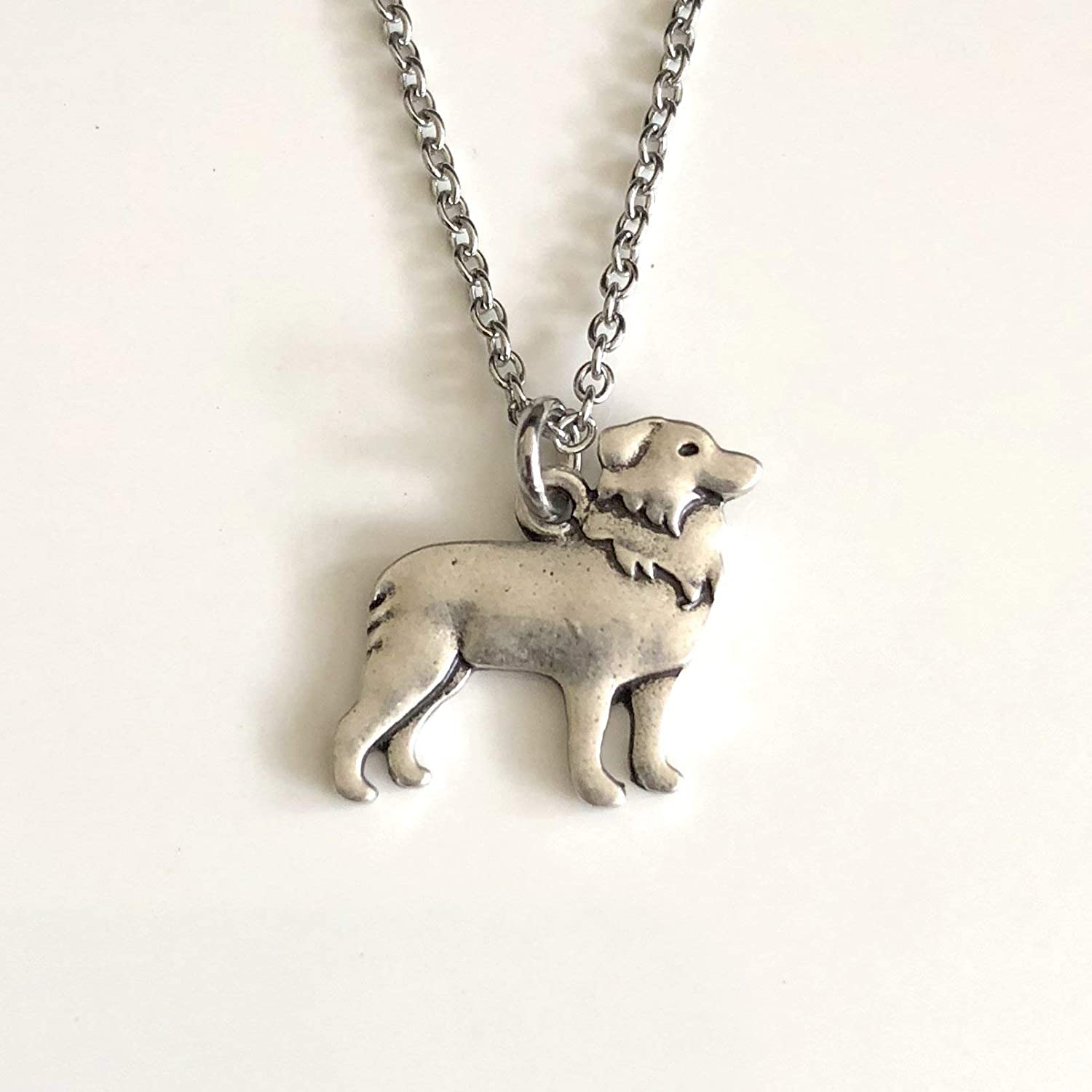 "BORDER COLLIE DOG PENDANT NECKLACE WITH 18/"" SILVER CHAIN LOVELY GIFT"